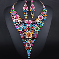 Luxury Bridal Jewelry Sets Gold plated Big flower Statement Necklace and Earrings for Brides Wedding Party Accessories  Women