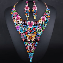 Luxury Bridal Jewelry Sets Gold plated Big flower Statement Necklace and Earrings for Brides Wedding Party