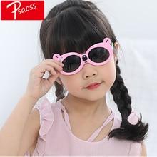 Psacss милый медведь поляризованные солнцезащитные очки для детей девочек мальчиков детская винтажная силиконовая оправа солнцезащитные очки Gafas Infantil UV400