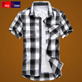 Male shirt short-sleeve plus size plus size men's clothing thin summer short-sleeve plaid shirt