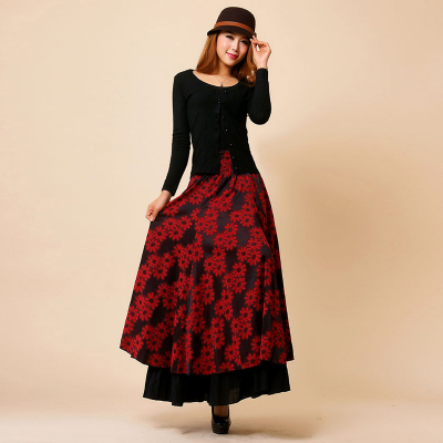 2016 Autumn winter vintage print a line skirt plus size flower ...