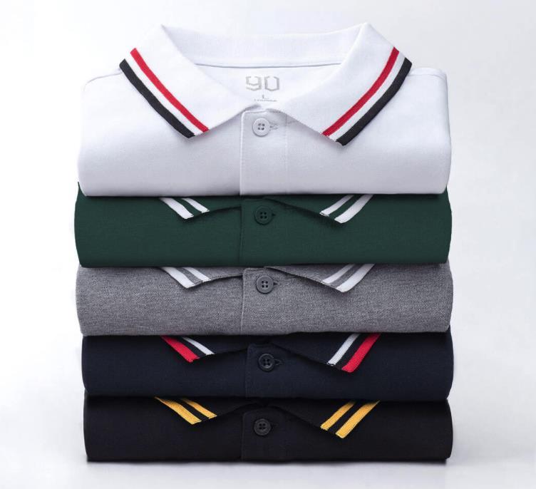 Authentic Xiaomi Mijia 90 Quality Men Shirt Men's Fashion Short Sleeve Points Ribbed Classic Lapels Polo Shirt