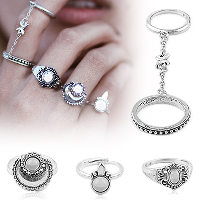 brixini.com - Juturna™ Silver Above Knuckle Rings 5PCS