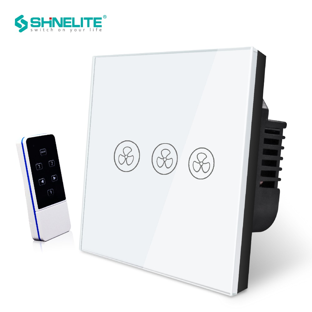 Free shipping Remote Control Fan Switch, Speed Regulation,White Crystal Glass Panel, AC 110~240V Home UK Standard Wall Switch luxury uk standard wireless remote control for ceiling fan crystal glass panel 600w fan speed regulation wall touch switch