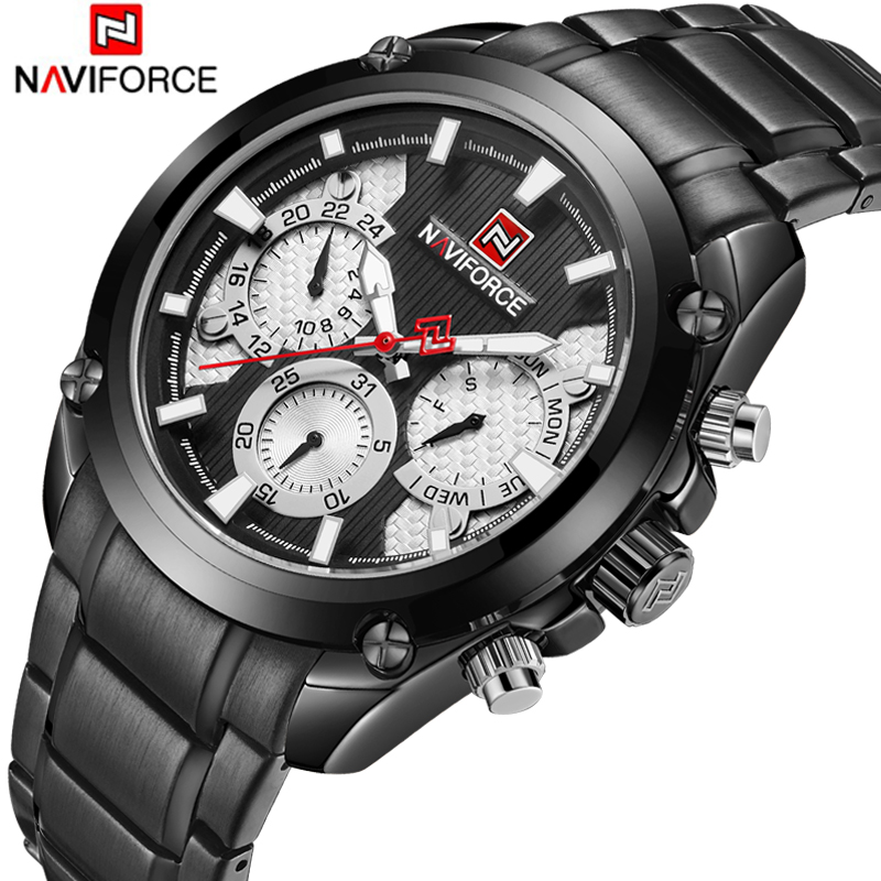 <font><b>NAVIFORCE</b></font> Top Brand Luxury Watch Business Waterproof Date Week Quartz Watch Full Stainless Steel Sport Wrist Watch Men Clock image
