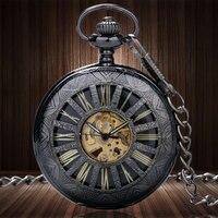 Luxury Skeleton Dial Obscure Lines Case Auto Mechanical Pocket Watch Steampunk Skeleton Male Clock Transparent Vintage