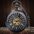 Luxury Skeleton Dial Obscure Lines Case Auto Mechanical Pocket Watch Steampunk Skeleton Male Clock Transparent Vintage Pendant