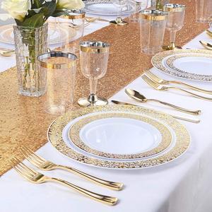 Image 4 - Gold Disposable Plastic Plates  Lace Design Wedding Party Plastic Plates,Gold Lace Plates Salad/Dessert Plates 25pack