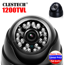 Wholesale Sale 1/3cmos Real 1200TVL HD cctv Camera Dome indoor Security IR-CUT laser led Infrared Night Vision security vidicon plstic case 1 3megapixel mjpeg cctv security dome iinfrared ir night vision camera usb with 2 8mm lens