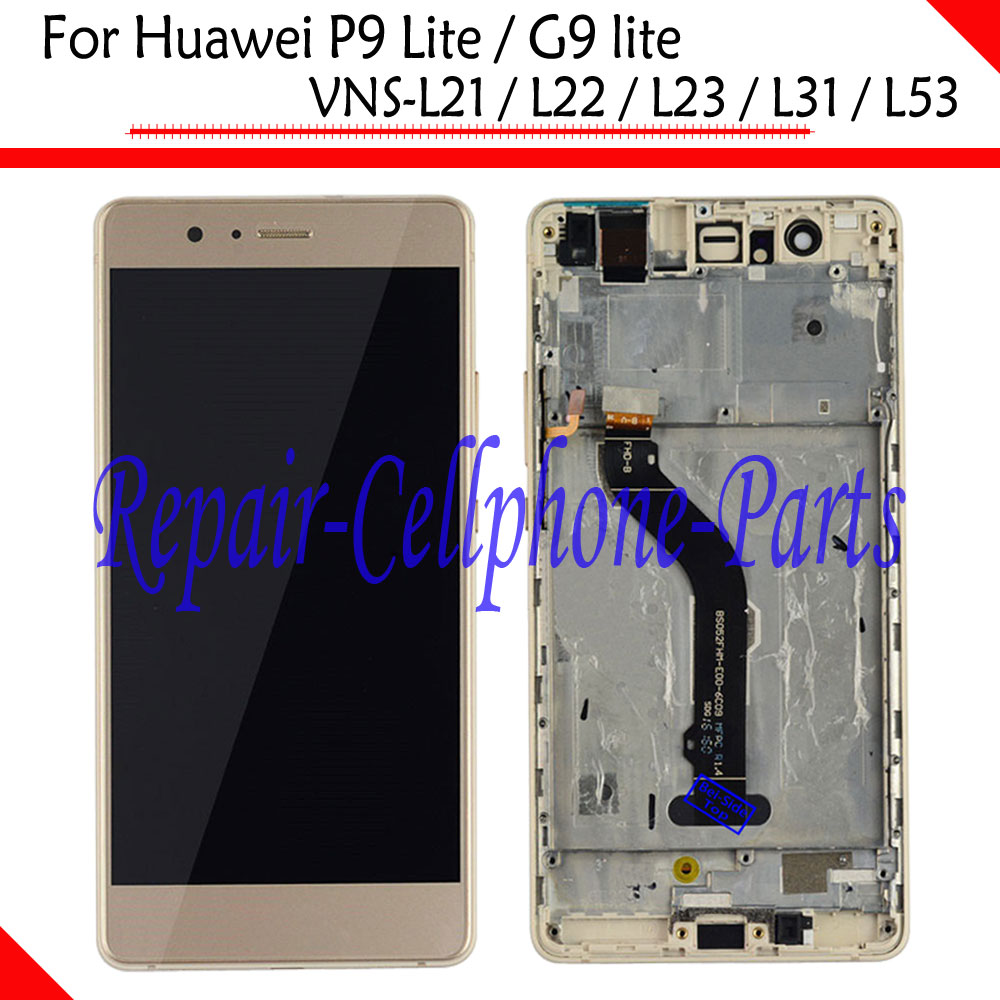 Gold Full LCD DIsplay+Touch Screen Digitizer+Frame Cover Assembly For Huawei P9 Lite / G9 lite VNS L21 / L22 / L23 / L31 / L53