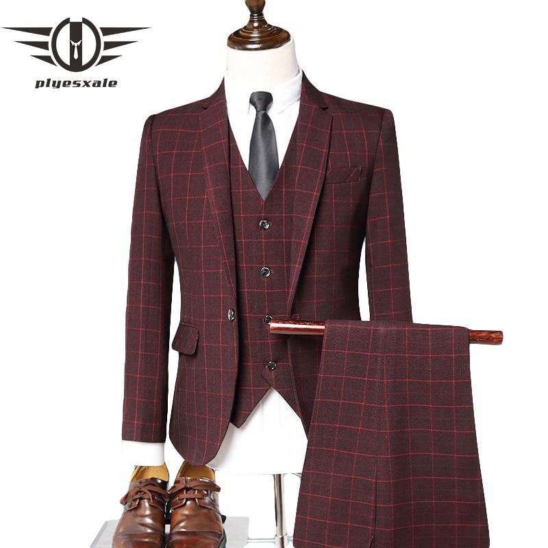 Hot Sale Plyesxale Grey Blue Plaid Suit Men 3 Piece Groom Wedding