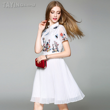 Women Patchwork Dress 2017 TaYingLou Fashion Embroidery Slim Pleated Vestidos Stand Collar Short Sleeve A-Line Dress 71253