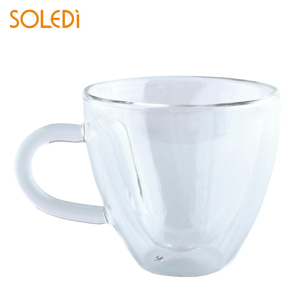 Nordic 180ml Double-layer Glass Tea Cup Coffee Mugs With the Handle Drinking Insulation Double Wall Creative