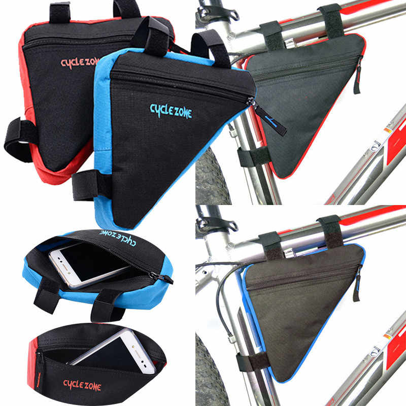 Triangle Cycling Front Tube Frame Pouch Bag Holder Saddle Black+Red