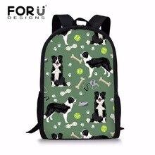 FORUDESIGNS School Bags for Teenager Girls Border Collie Printing Schoolbag Middle School Students Preppy School Backpack Bolsa