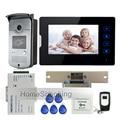 """New 7 """"Tela de toque de Interfone Telefone Video Da Porta Kit + 1 RFID Acesso Camera + 1 Monitor + Greve Elétrica Fechadura Da Porta Frete Grátis"""