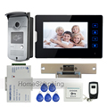 "New 7"" Touch Screen Video Door Phone Intercom Kit + 1 RFID Access Camera + 1 Monitor + Electric Strike Door Lock  Free Shipping"