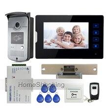 New 7″ Touch Screen Video Door Phone Intercom Kit + 1 RFID Access Camera + 1 Monitor + Electric Strike Door Lock Free Shipping