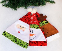 3 Pattern Unisex Adult Xmas Red Cap Santa Novelty Hat for Christmas Party Santa Claus Snowman Elk Christmas Hats 28*35cm