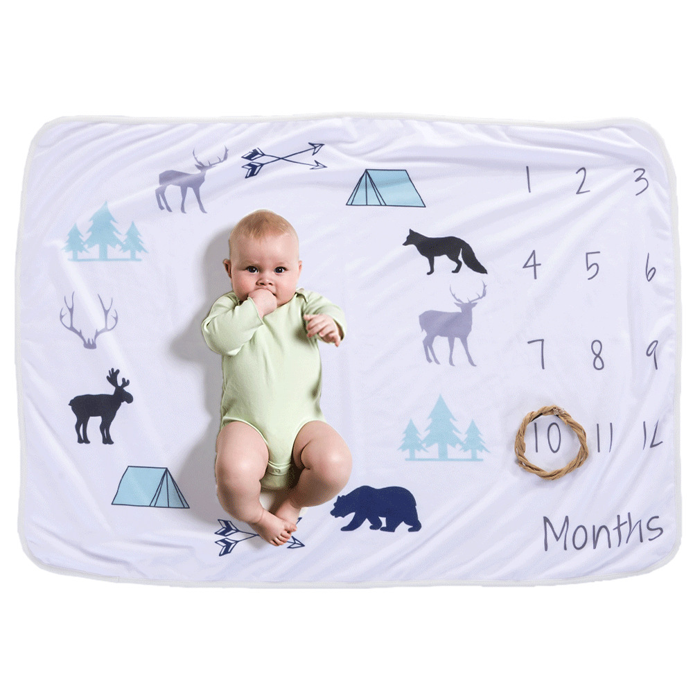 12 Monthly Annual Baby Milestone Blanket Baby Photo Props Souvenir Blanket Animal Flowers Background Blanket for Shooting(China)