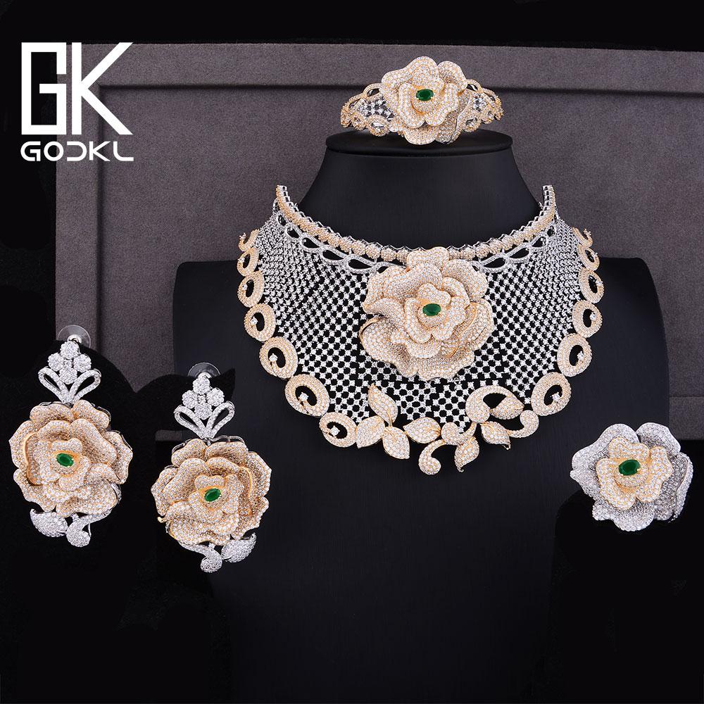 GODKI Luxury Rose Flowers Cubic Zirconia Nigerian Jewelry sets For Women Dubai Bridal jewelry sets indian