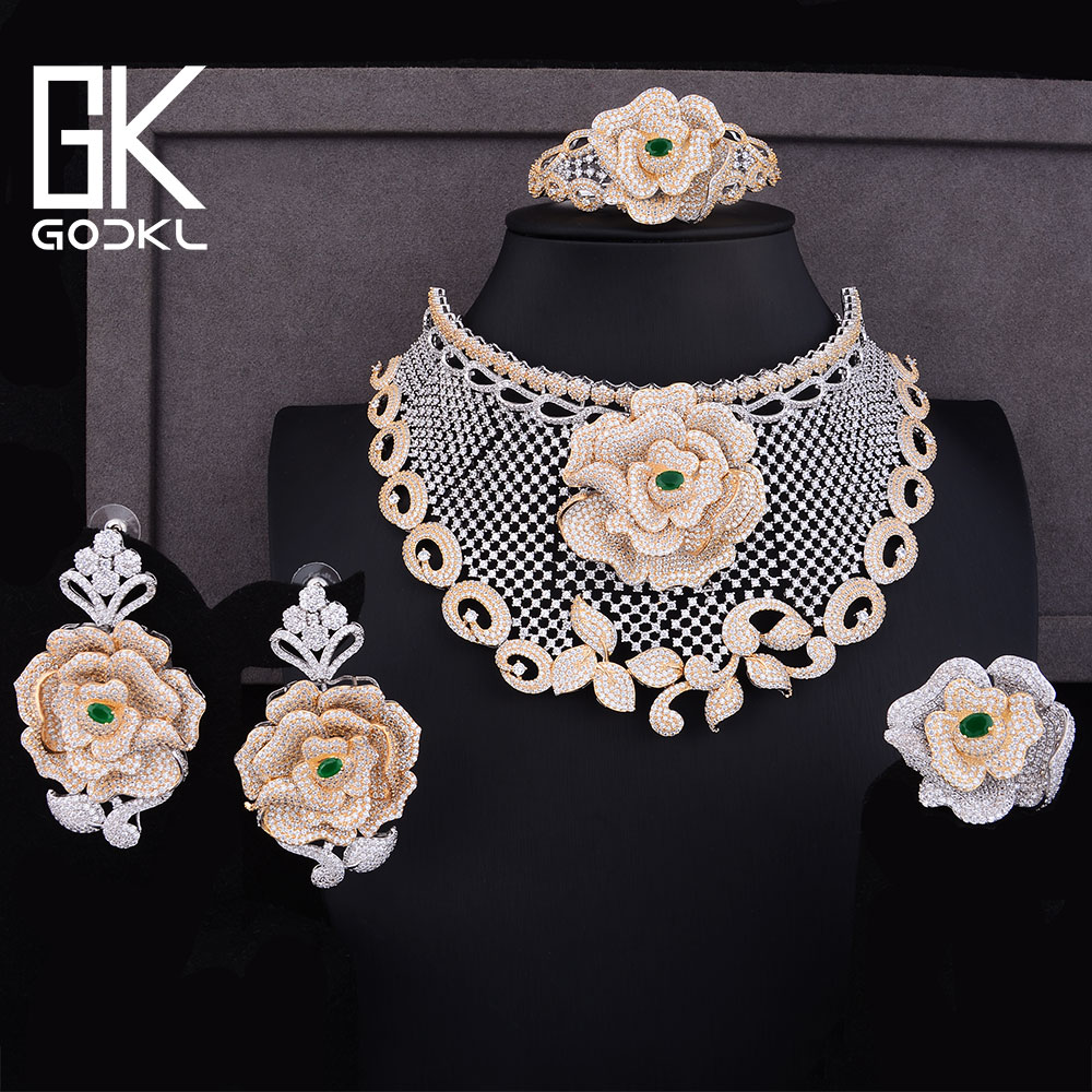 GODKI Luxury Rose Flowers Cubic Zirconia Nigerian Jewelry sets For Women Dubai Bridal jewelry sets indian Statement Jewelry Sets