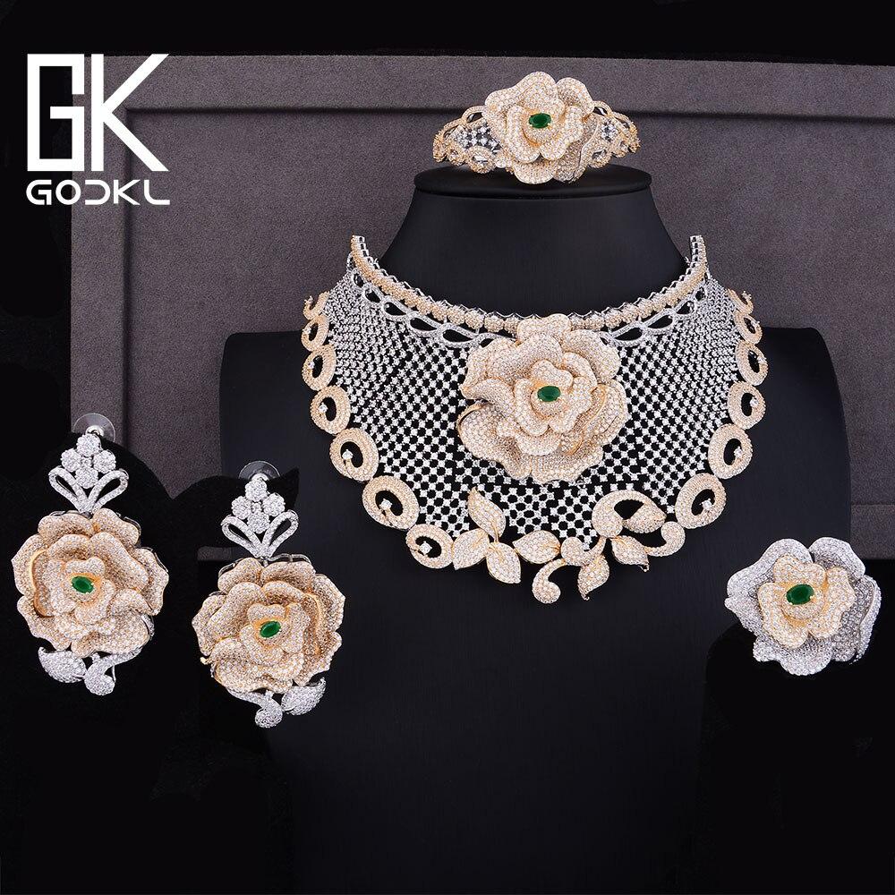 Nigeriano GODKI Luxo Flores Rosa Cúbicos de Zircônia conjuntos de Jóias Para As Mulheres Dubai conjuntos De jóias de Noiva indiana Conjuntos Declaração de Jóias