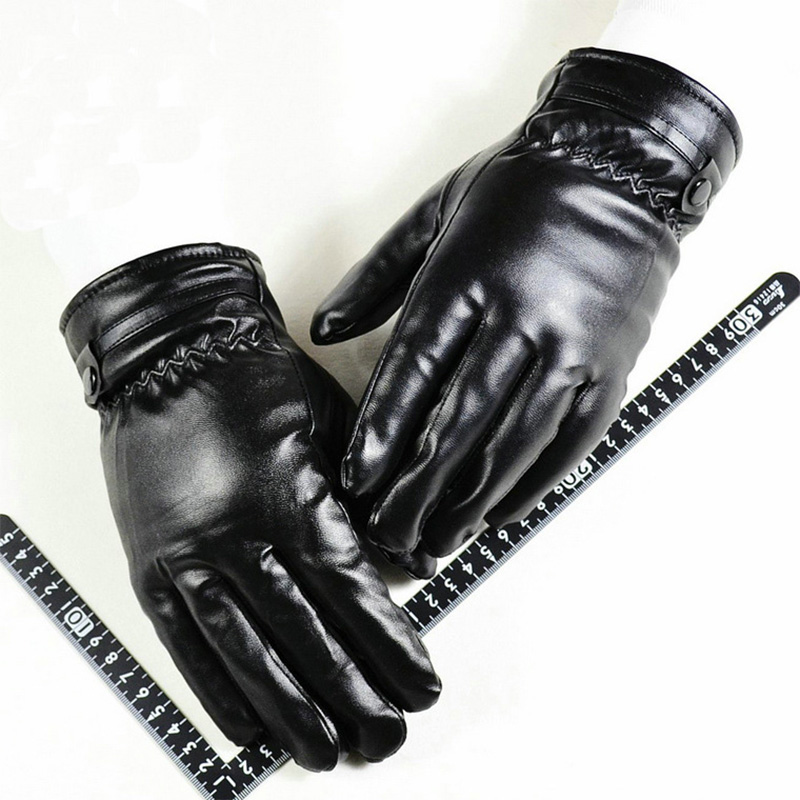 On Sale PU Gloves For Men and Women Warm Touch Screen Leather Gloves Winter Windproof Comfortable Mittens Driving Mittens