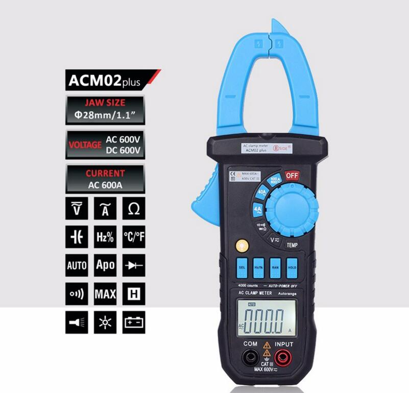 ACM02 Plus Digital AC DC 600V Clamp Meter 600A Multimeter Volt Amp Ohm Temp Frequency Tester  vc6056d digital ac dc clamp meter 600a refrigerant special