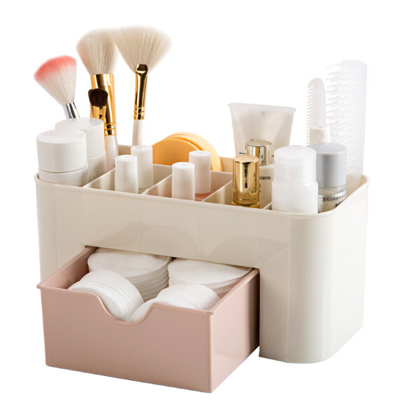 Cosmetic Jewelry Organizer Office Storage Drawer Desk Makeup Case Plastic Makeup Brush Box Lipstick Earring Case Container
