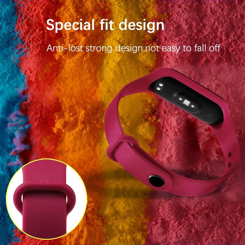 BOORUI Mi Band 4 Strap Fashional Newest Mi Band 3 Strap Silicone Waterproof Strap Replacement For Xiaomi Miband 3 4 Band