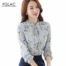 Осень Женщины шифон блузки Мода Повседневная Свободные печатных шифон рубашка С Длинным рукавом Элегантных Женщин рубашка плюс размер женщин clothing