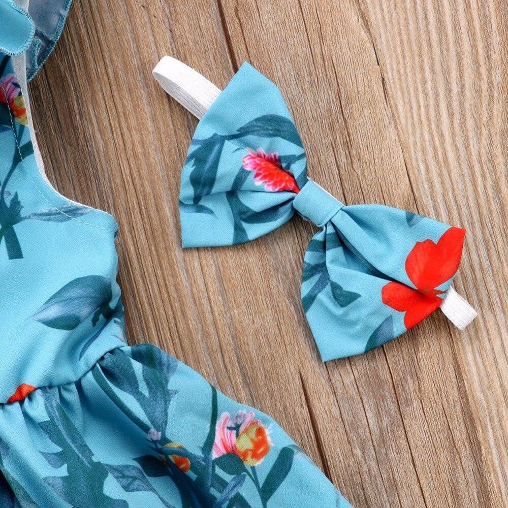 Vogue Kids Girls Clothes Bez rękawów Ruched Bow Blue Dress Floral - Ubrania dziecięce - Zdjęcie 6