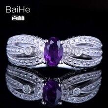 BAIHE Solid 14K White Gold(AU585) 0.46CT Certified 100% Genuine Amethyst/Flawless Wedding Women Cute/Romantic Fine Jewelry Ring