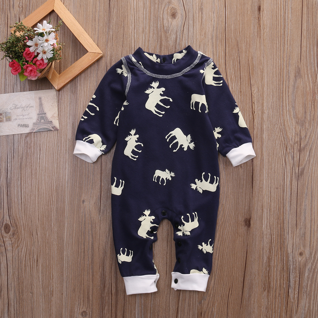 Fashon Newborn Infant Baby Girl Boy Moose Deer Long Sleeve Cotton Romper One-pieces Xmas Outfits Christmas 6