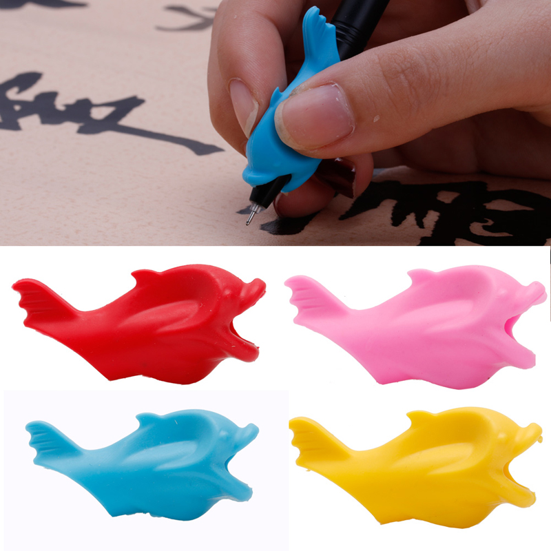 Pencil Grip 10 Pcs Children Pencil Holder Writing Hold Pen Grip Posture Correction Tool Fish in Pen refill from Office School Supplies