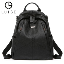 LUISE Brand Women Genuine Leather Backpack School Daypack  Shoulder Bag High Quality Female Knapsack Natural Cowhide Rucksack