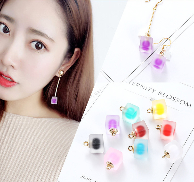 10pcs 11*18mm Symphony Matte Resin Cube Double Color Charms Pendant Finding For Hair Jewelry Accessories Earring YZ502