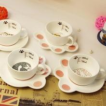 Творческая кошка Стиль Керамика Кофе чашка с блюдцем набор с милым принтом в виде котика чашки четыре Стиль доступны хороший подарок для друзей SH155