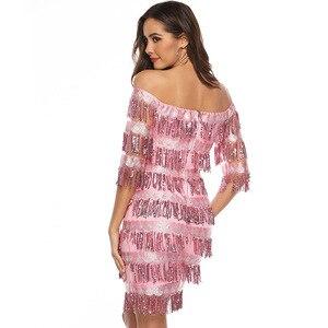 Image 4 - Сексуальные розовые короткие коктейльные платья до колен 2019, кружевное платье с блестками и бахромой с рукавом до локтя, официальное вечернее платье, халат, коктейльное платье для выпускного вечера