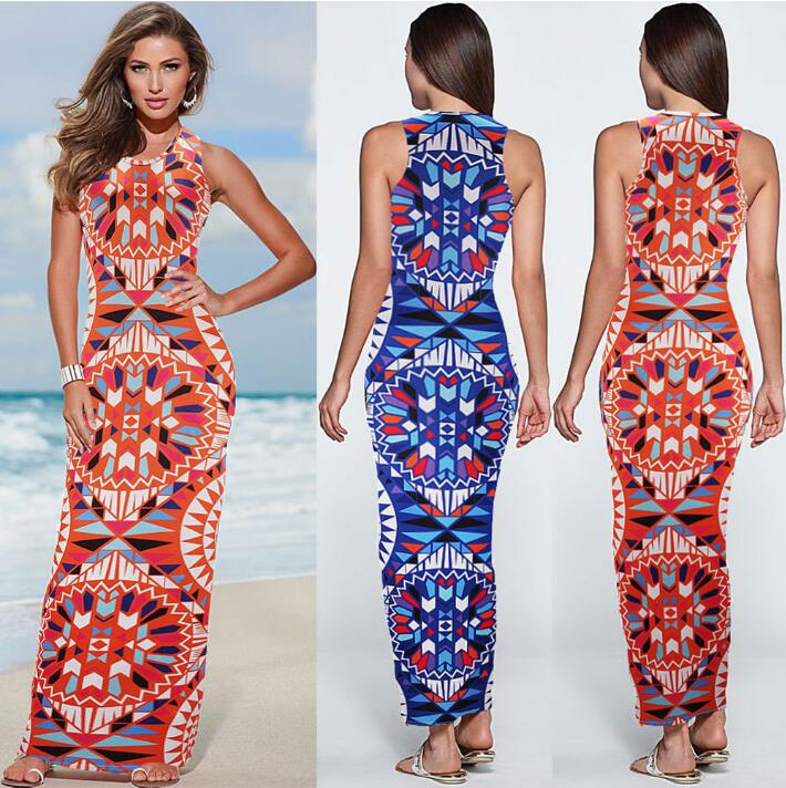 866ba979cd New Ladies Fashion Slim Fit Skinny African Totem Print Sleeveless Tank Long  Ethnic Dress Maxi Dress-in Dresses from Women's Clothing on Aliexpress.com  ...