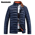 Mountainskin Men's Winter Jackets Men Casual Warm Parkas Male Thick PU Shiny Coats Stand Collor Slim Fit Brand Clothing,SA028