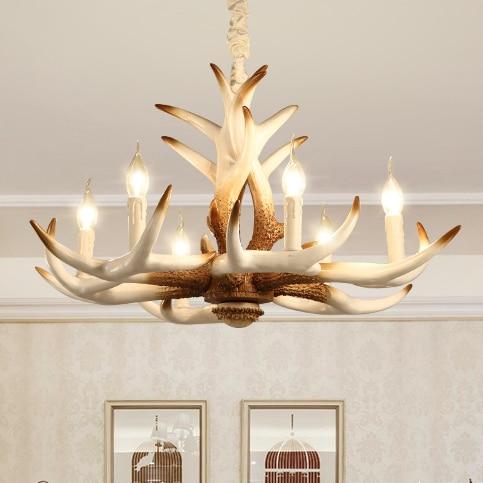 American Vintage White Antler Pendant Lights Resin Deer Antler Home Indoor Lighting Dining Room Bedroom Foyer Lamps AC110V 220V