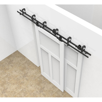 5 10FT Sliding Door Fittings Barn Wood Door Hardware Steel Country Style Black Barn Doors Interior