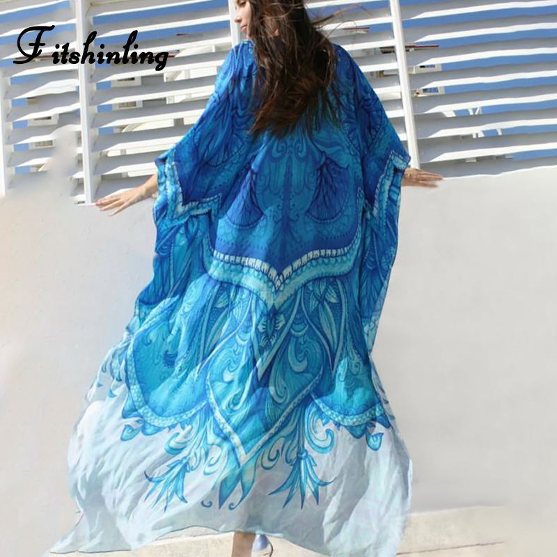 Fitshinling Large size cape swimwear wrap beach dress boho print batwing sleeve maxi dresses women 2019 summer robe pareos sale
