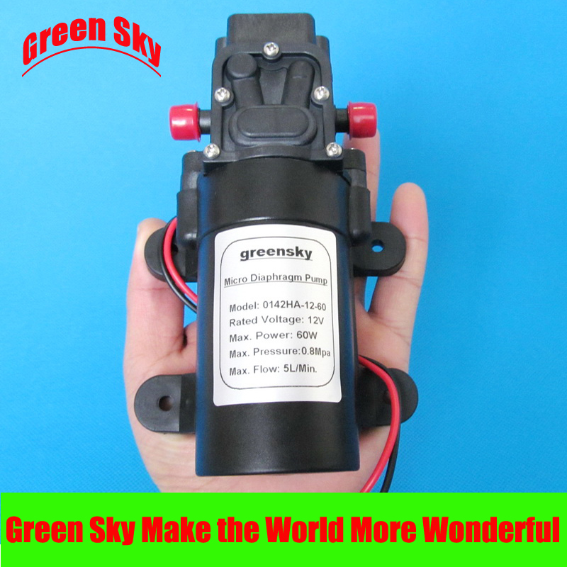 5L/Min 12V DC 60W return valve type high pressure mini water diaphragm pump popular sale 30w small diaphragm return valve type 12v high pressure water pump
