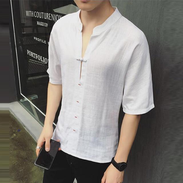 2018 Summer Linen Men T Shirt Solid V-neck Half Sleeve Button Tee Tops  Casual 260139c8ba