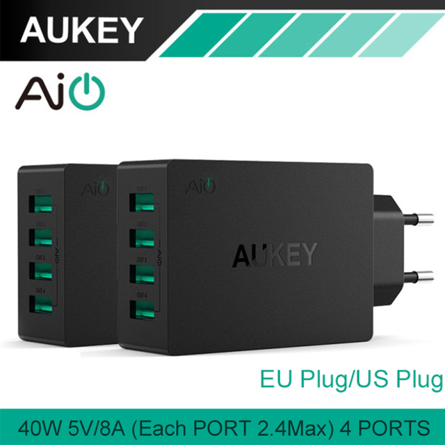 AUKEY USB Charger 40W/8A Travel Wall Charger Adapter with Foldable Plug for iPhone 8 7 Plus 6 Samsung Note7 HTC LG Charger EU/US