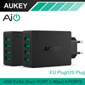Aukey de Multi USB 40 w/8A Adaptador de Viagem Carregador de Parede com Plug Dobrável para iphone 7 plus 6 6 s samsung note7 htc lg carregador UE/EUA