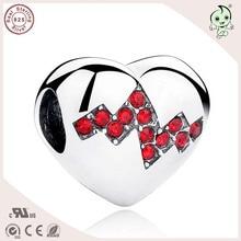 Diseño Romántico Del Corazón Del Amor de Joyería de Plata de Calidad superior 925 Siver Encanto En Forma de Corazón Para la Famosa Cadena O Collar Europeo